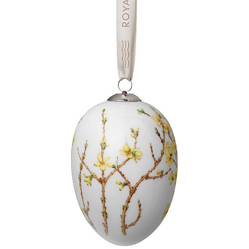 """4"""" Forsythia Easter Egg Ornament, Yellow/Multi"""