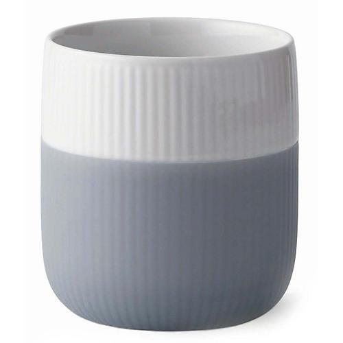 Contrast Fluted Mug, White/Gray