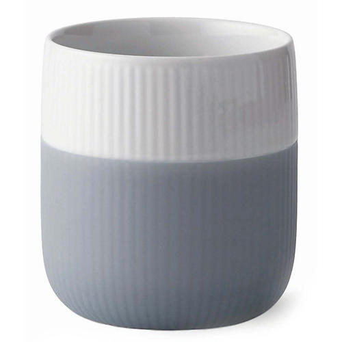 Contrast Fluted Mug, White/Gray