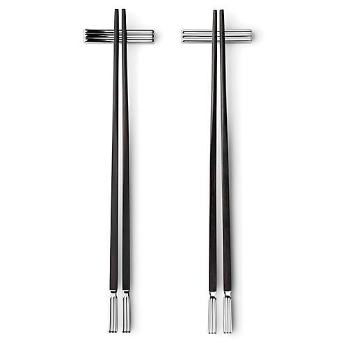 S/2 Bernadotte Chopsticks, Black/Silver