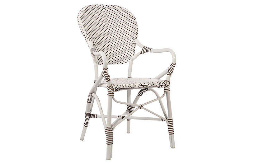 Isabell Outdoor Armchair, White/Cappuccino