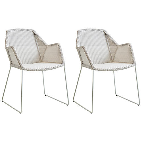 S/2 Breeze Stackable Armchairs, White/Gray