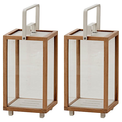 S/2 Lighthouse Lanterns, Teak/White