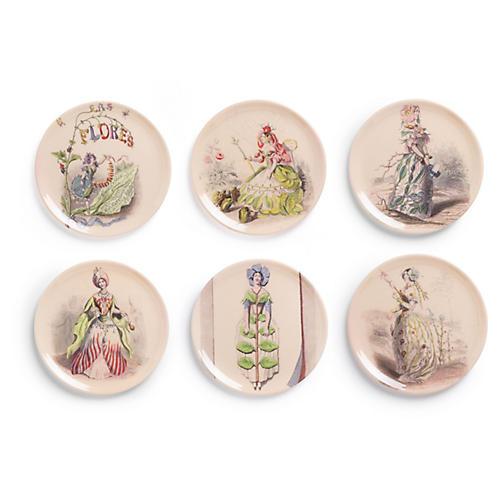 S/6 Las Flores Coaster Set, Ivory/Multi
