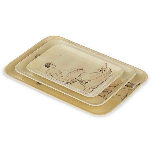 S/3 Sculptura Tray Set, Ivory/Multi