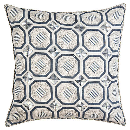 Evara 22x22 Pillow, Marine/Multi Linen