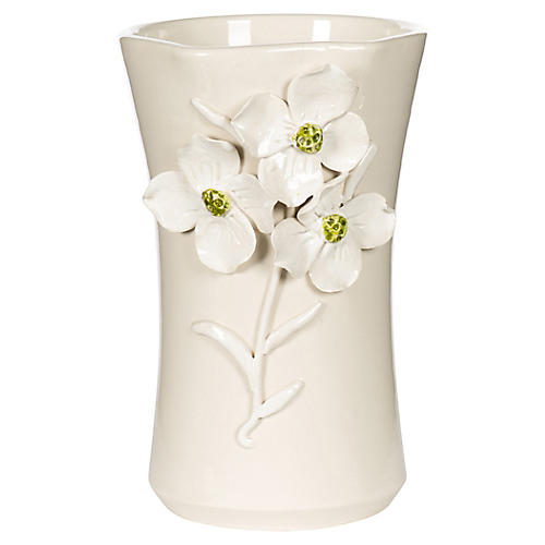 """12"""" Dogwood Vase, White"""