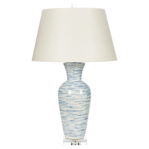 Wind Swept Table Lamp, Light Blue