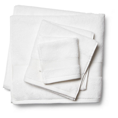 3-Pc Diamond Towels, White