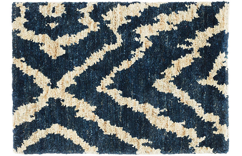Sahara Jute Rug, Blue/Natural
