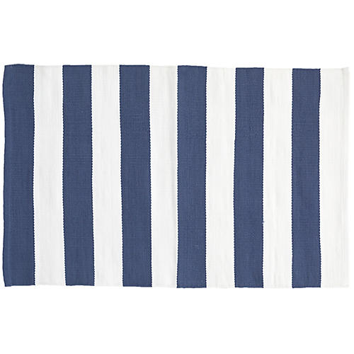 Catamaran Indoor/Outdoor Rug, Denim/White
