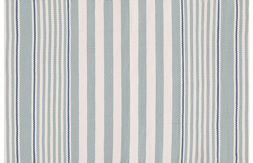 Rugby Stripe Indoor/Outdoor Rug, Light Blue