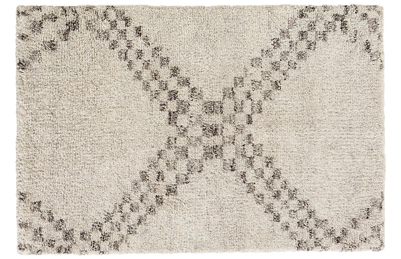 Zillah Hand-Knotted Rug, Pale Gray