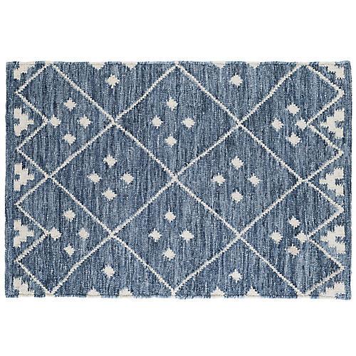 Kota Flat-Weave Rug, Indigo/Silver