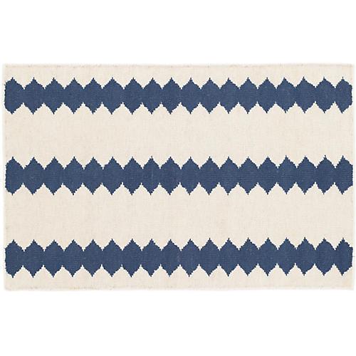 Senna Handwoven Rug, Ivory/Blue