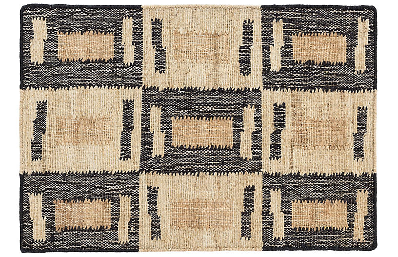 Cassia Jute Rug, Natural/Black
