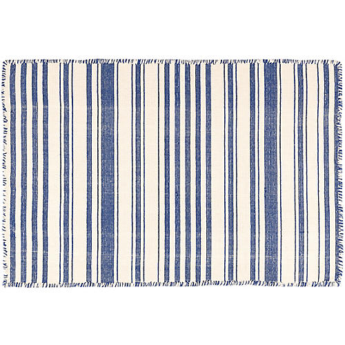 Hampshire Stripe Handwoven Rug, Cobalt