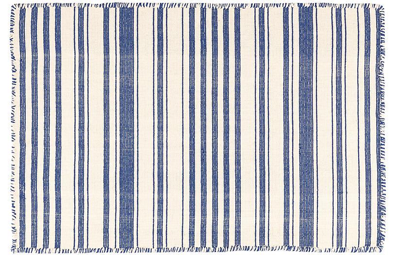 Hampshire Stripe Handwoven Rug, Cobalt