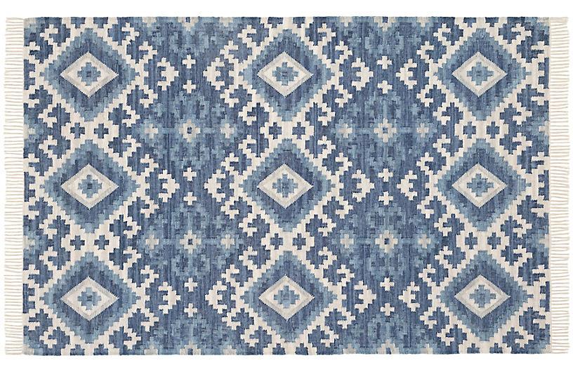 Marmara Kilim Woven Cotton Rug, Blue