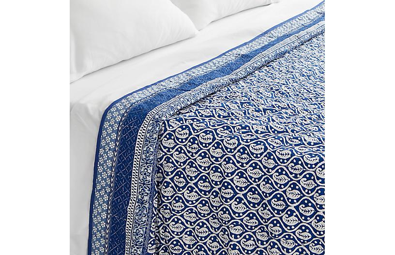 Batik Coverlet, Blue