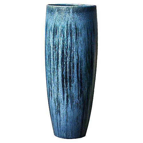 "39"" Sabine Outdoor Planter, Blue Pearl"