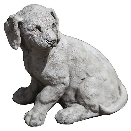 "13"" Lab Pup Outdoor Statue, Graystone"