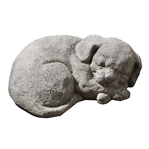"9"" Curled Dog Outdoor Statue, Graystone"