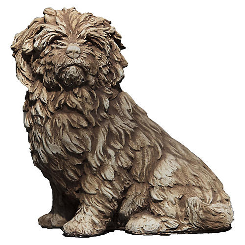 "15"" Fluffy Dog Outdoor Statue, Brownstone"