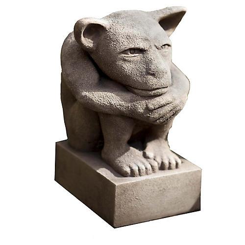 """12"""" Sitting Gargoyle Outdoor Statue, Brownstone"""