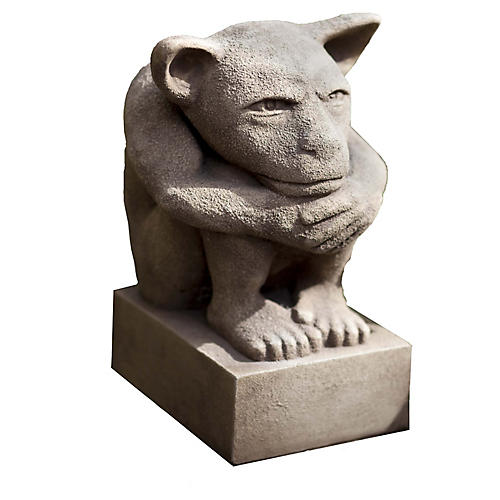 "12"" Sitting Gargoyle Outdoor Statue, Brownstone"