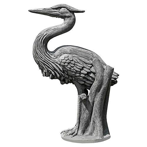 "36"" Heron Outdoor Statue, Alpine Stone"