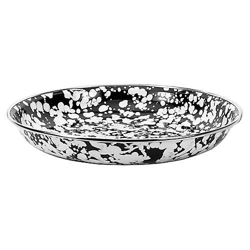 S/4 Swirl Pasta Plates, Black/White
