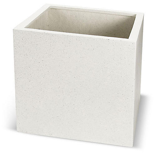 Cajon Outdoor Planter, White