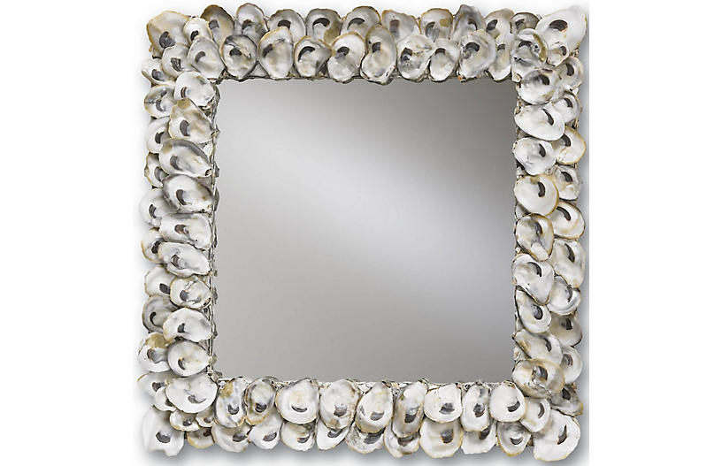 Oyster Shell Mirror, Natural