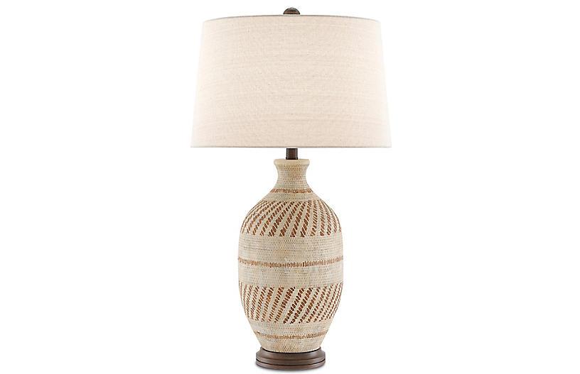 Faiyum Table Lamp, Tan/Bronze
