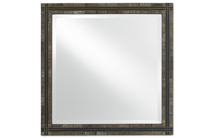 Gregor Small Mirror, Chiseled Horn/Brass