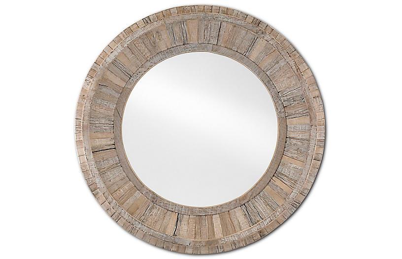 Kanor Round Mirror, Whitewash