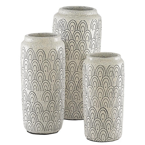 S/3 Laphine Vase, Ivory Crackle/Black