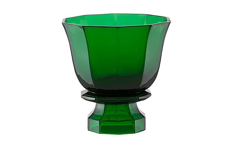 Footed Columbia Vase, Emerald Green