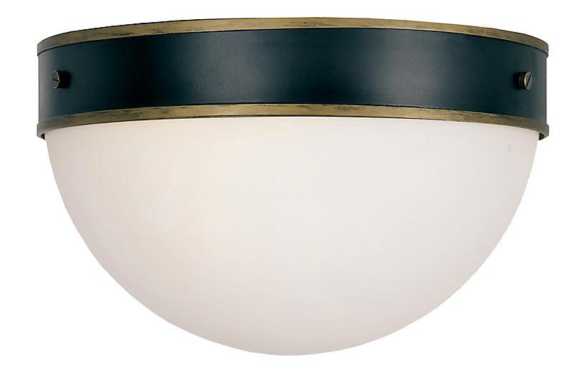 Capsule Outdoor 2-Light Flush Mount, Black/Gold