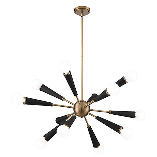 Zodiac 12-Light Chandelier, Aged Brass