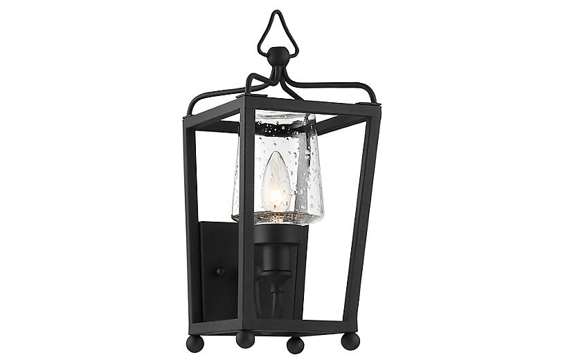 Sylvan Outdoor Sconce, Black Forged