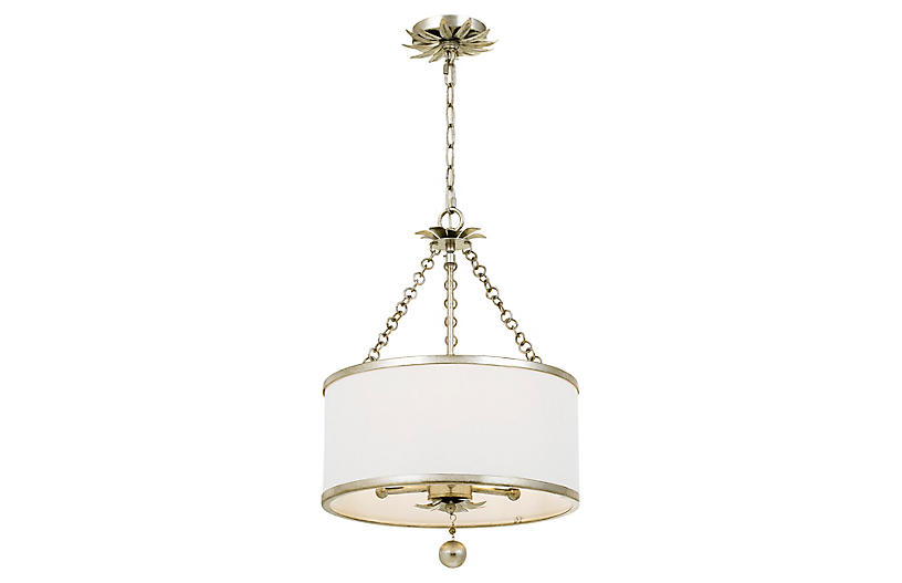 Broche 3-Light Chandelier, Antiqued Silver