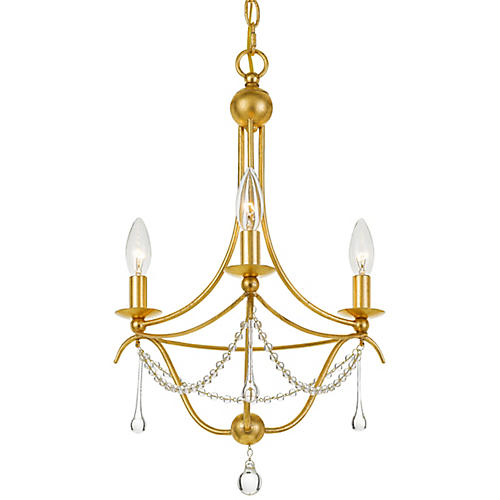 Metro Chandelier, Antiqued Gold