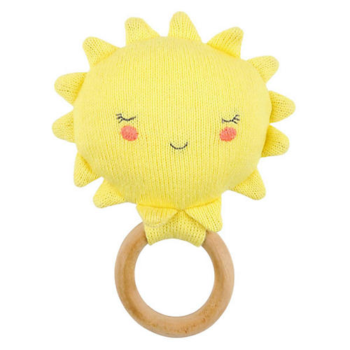 Happy Sun Baby Rattle, Yellow
