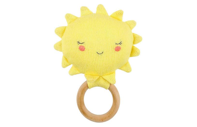 Happy Sun Baby Rattle, Yellow