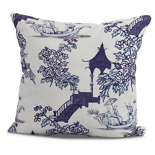 Floral Chinoiserie Pillow, Navy