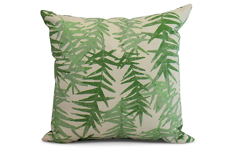 Falling Ferns Pillow, Green