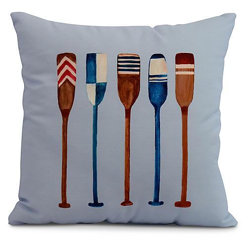 Nautical Oar Pillow, Light Blue