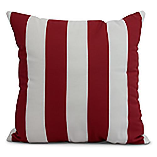 Monaco Stripe Pillow, Red